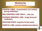 modularity checks and balances