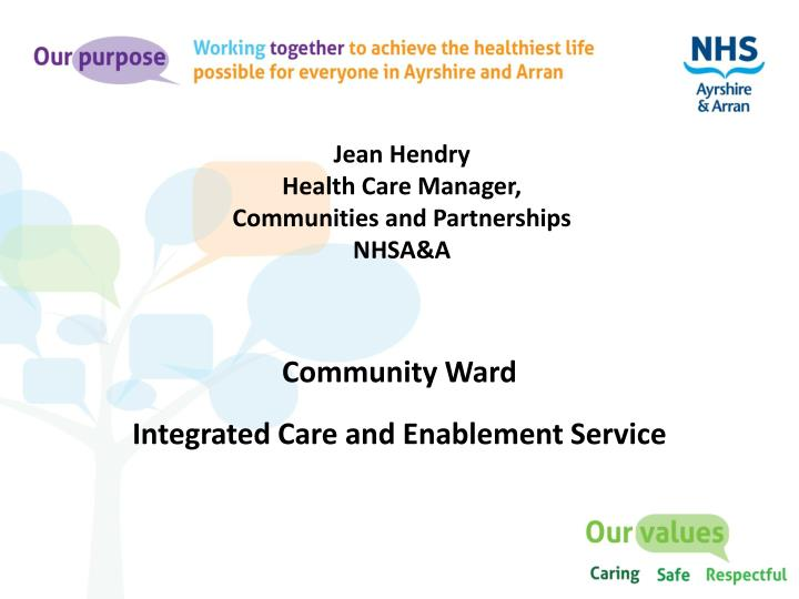 jean hendry health care manager communities and partnerships nhsa a n.