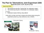 the plan for telemedicine joint experiment 2006 detail discussion on 28 th july 06 by vcs