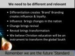 we need to be different and relevant