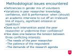methodological issues encountered