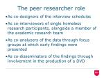 the peer researcher role