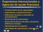 organismos internacionales y agencias de ayuda financiera
