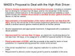 madd s proposal to deal with the high risk driver