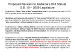 proposed revision to alabama s dui statute s b 10 2009 legislature