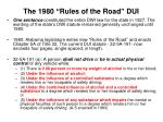 the 1980 rules of the road dui