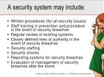a security system may include