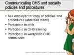 communicating ohs and security policies and procedures