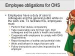 employee obligations for ohs
