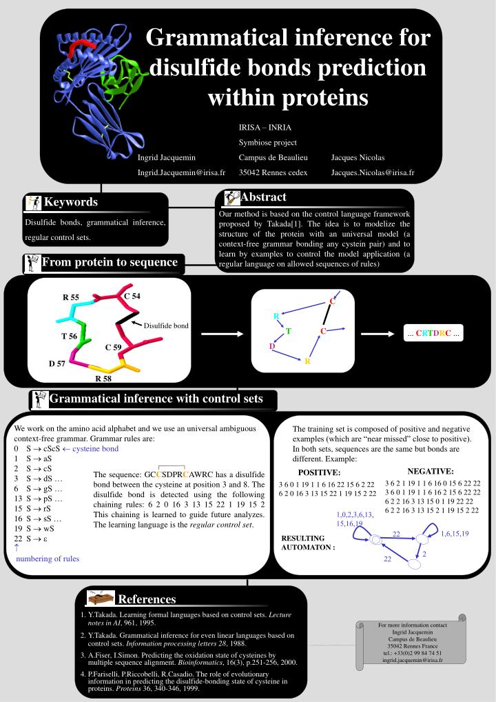 grammatical inference for disulfide bonds prediction within proteins n.