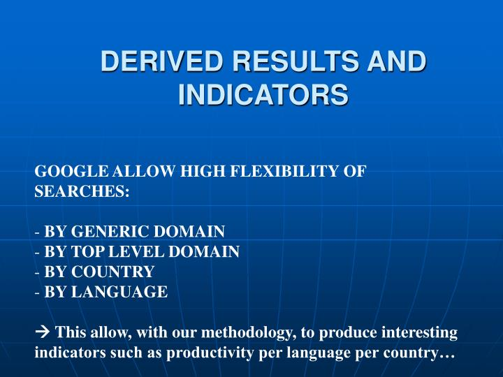 DERIVED RESULTS AND INDICATORS