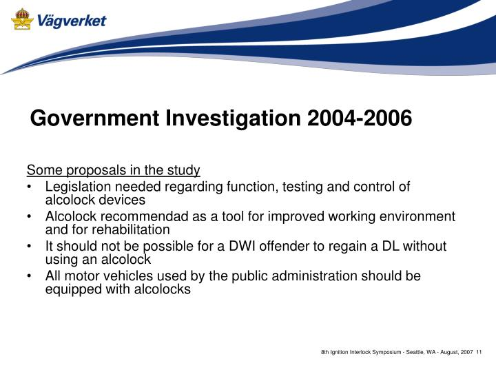 Government Investigation 2004-2006