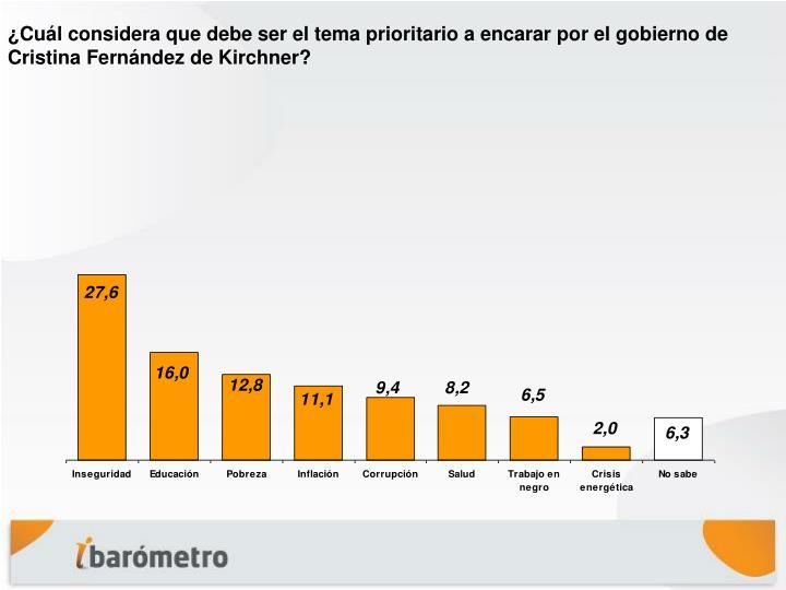 ¿Cuál considera que debe ser el tema prioritario a encarar por el gobierno de Cristina Fernández de Kirchner?