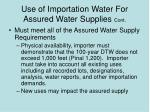 use of importation water for assured water supplies cont