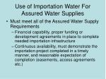 use of importation water for assured water supplies1