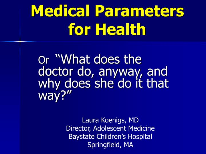 medical parameters for health n.