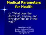 medical parameters for health