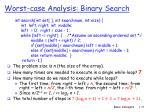 worst case analysis binary search