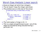 worst case analysis linear search