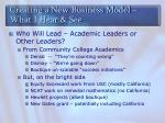 creating a new business model what i hear see1