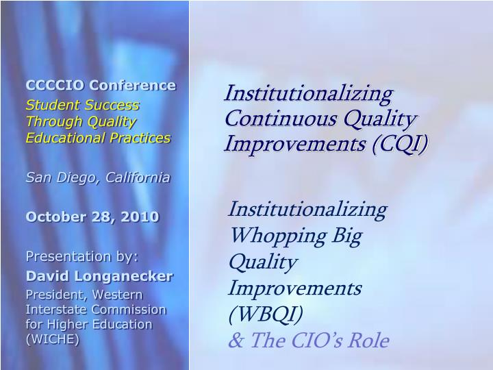 institutionalizing continuous quality improvements cqi n.
