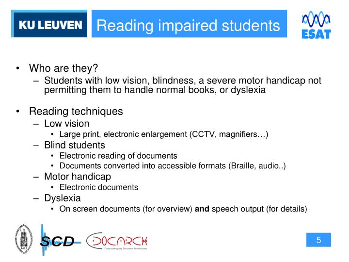 Reading impaired students