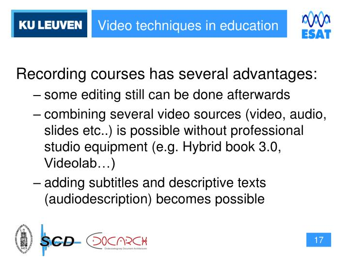 Video techniques in education