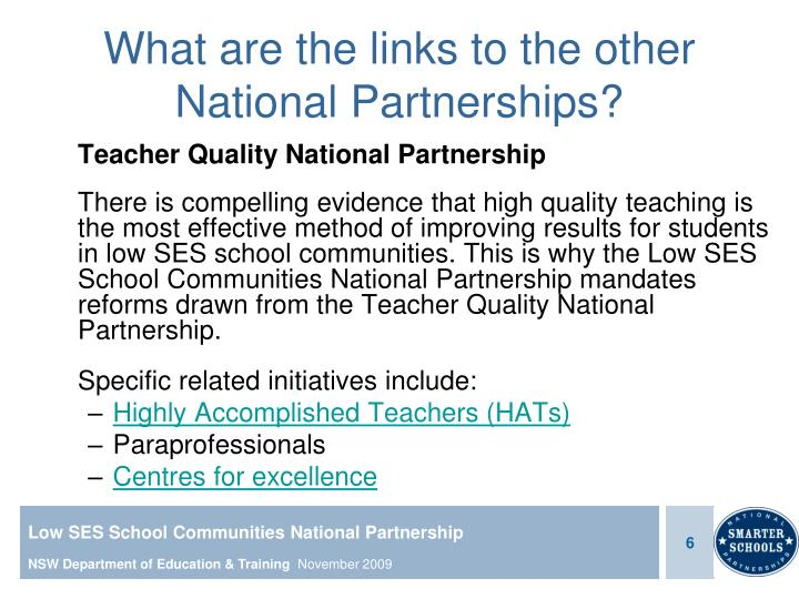 What are the links to the other National Partnerships?