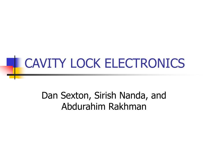 cavity lock electronics n.