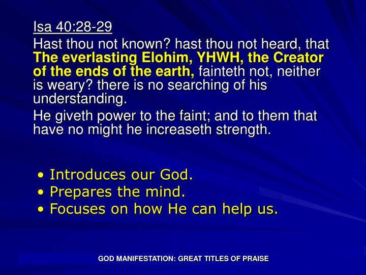 God manifestation great titles of praise