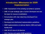 introduction milestones for idsr implementation