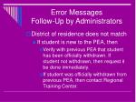 error messages follow up by administrators