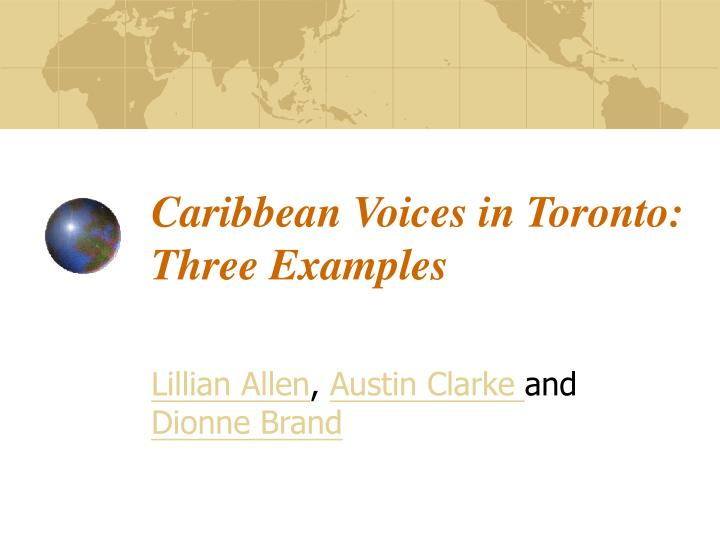caribbean voices in toronto three examples n.