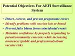 potential objectives for aefi surveillance system