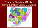 federalist structure muslim north christian south 36 states