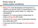 action taken to restore public confidence
