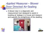applied measures blower door directed air sealing