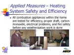 applied measures heating system safety and efficiency