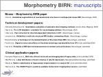 morphometry birn manuscripts
