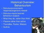 historical overview behaviourism