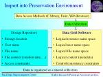 import into preservation environment