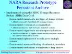 nara research prototype persistent archive