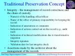 traditional preservation concept