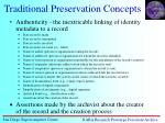traditional preservation concepts