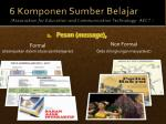 6 komponen sumber belajar association for education and communication technology aect