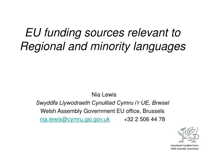 eu funding sources relevant to regional and minority languages n.