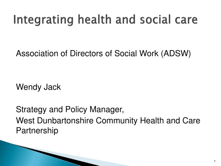 integrating health and social care n.