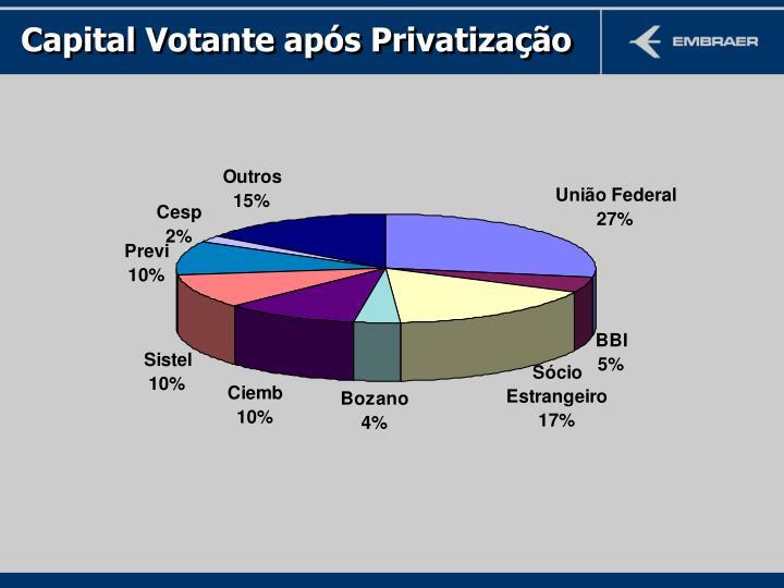 Capital Votante após Privatização