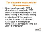 ten outcome measures for homelessness