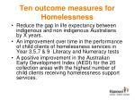 ten outcome measures for homelessness1
